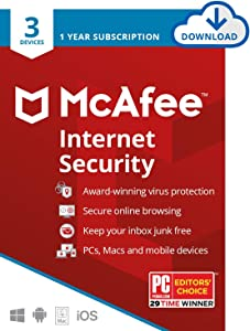 McAfee Internet Security 2020, 3 Device, Antivirus Software, Password Protection, 1 Year - Download Code