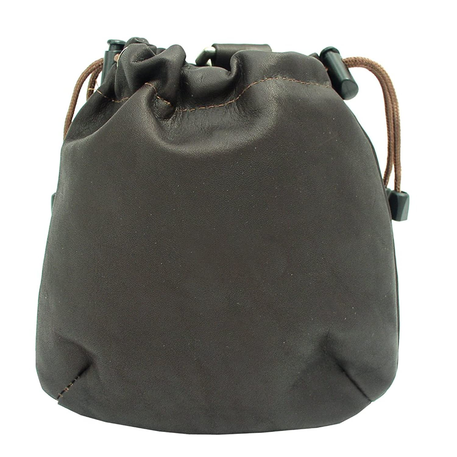Women's Genuine Chocolate Brown Piel Leather Drawstring Pouch Bag