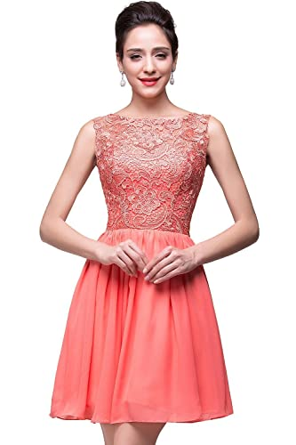 Babyonline Lace Chiffon Short Bridesmaid Dresses for Juniors Prom Gowns