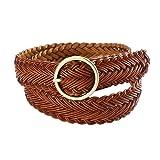 Damara Womens Wide Retro Round Buckle Weaving Braided Belt