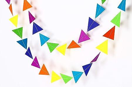 Guirnalda de papel con diseño de triángulo de arcoíris, 10 ...