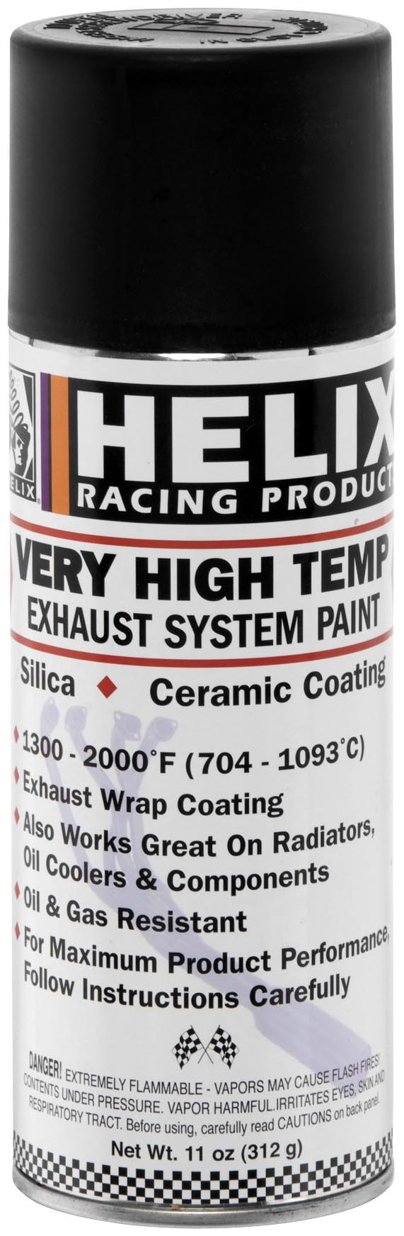Helix Racing Products High-Temperature Exhaust Paint - Black 165-1020 by Helix Racing