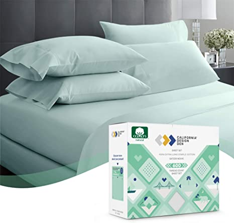 Amazon Com 600 Thread Count 100 Cotton Sateen Sheets King Size Set 4 Piece Seafoam Blue Hotel Style Supreme Bedding Sheets For Bed Fits Mattress 16 Deep Pocket Breathable Cooling Luxury Comfy Sheets Kitchen