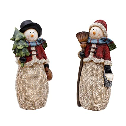 Christmas Snowmen Decorations.Christmas Snowman Figurines Xmas Holiday Winter Wonderland Decoration Home Indoor Table Ornament Party Supplies Stone Resin Figurine Bl