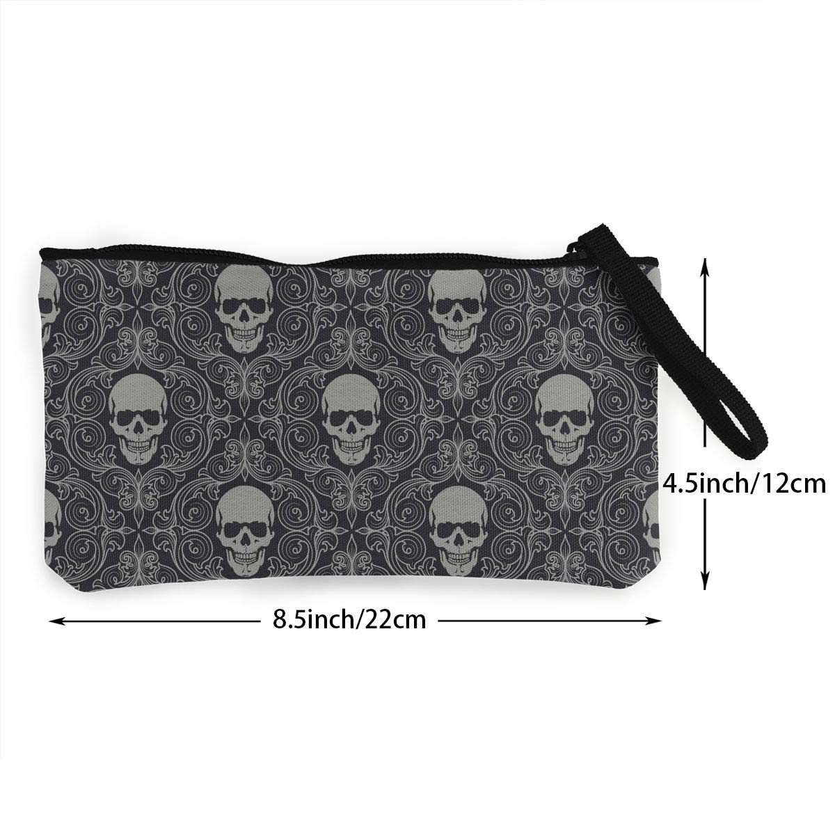 Coin Pouch Skull Flower Pattern Canvas Coin Purse Cellphone Card Bag With Handle And Zipper