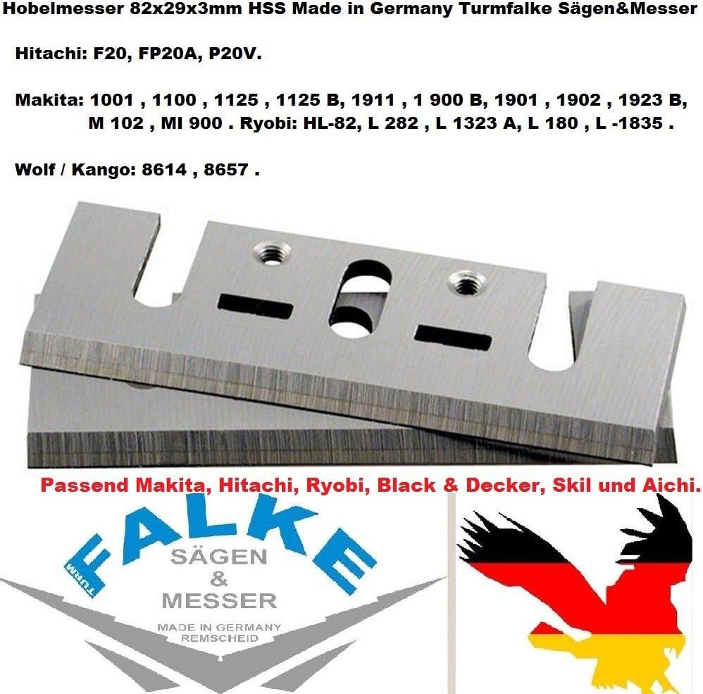 L 282 FP20A Ryobi HL-82 1 Paar 82mm HSS Hobelmesser f/ür MAKITA 1911,1900B,1901,1902,1923 B,1001,1100,1125,1125,Hitachi F20 8657 P20V L 1323 A L -1835,Wolf//Kango: 8614 L 180