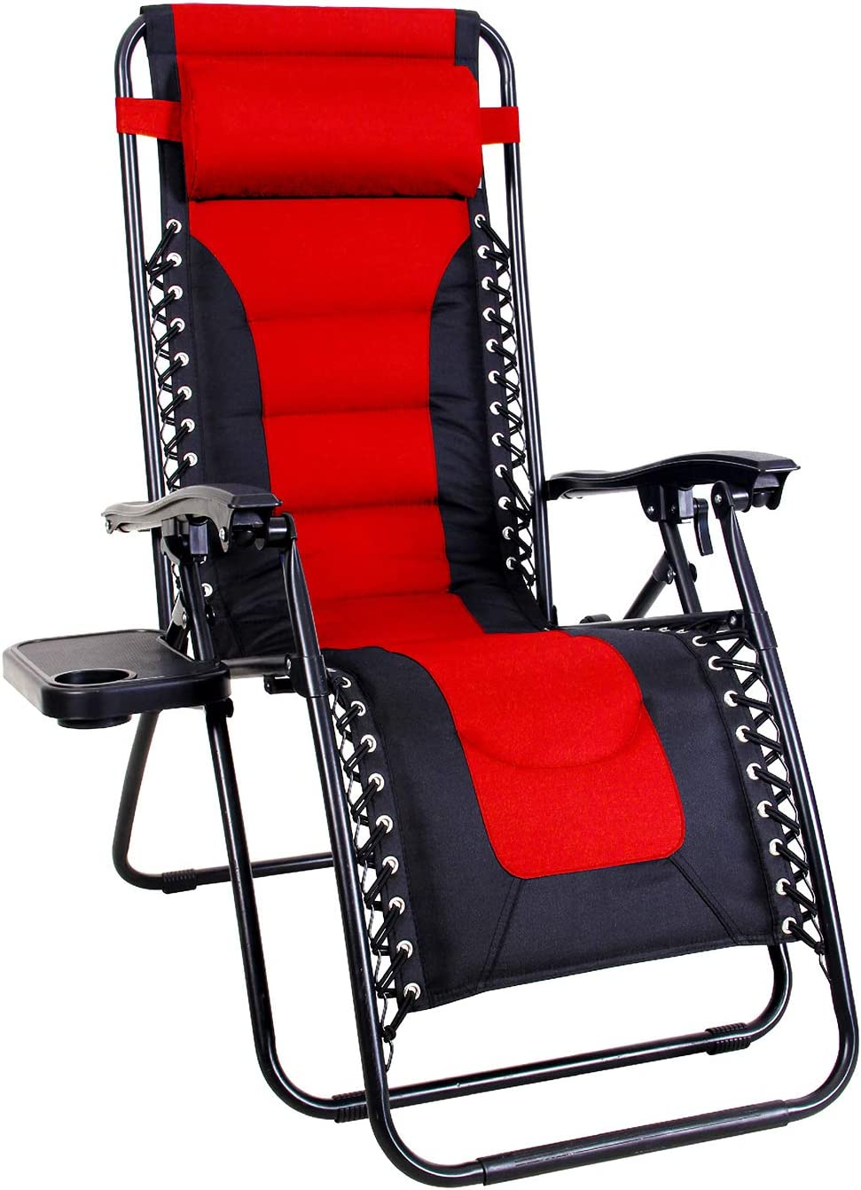 MFSTUDIO Zero Gravity Chair Large Portable Patio Recliners Adjustable Padded Folding Chair with Cup Holder for Poolside Outdoor Yard Beach, Red