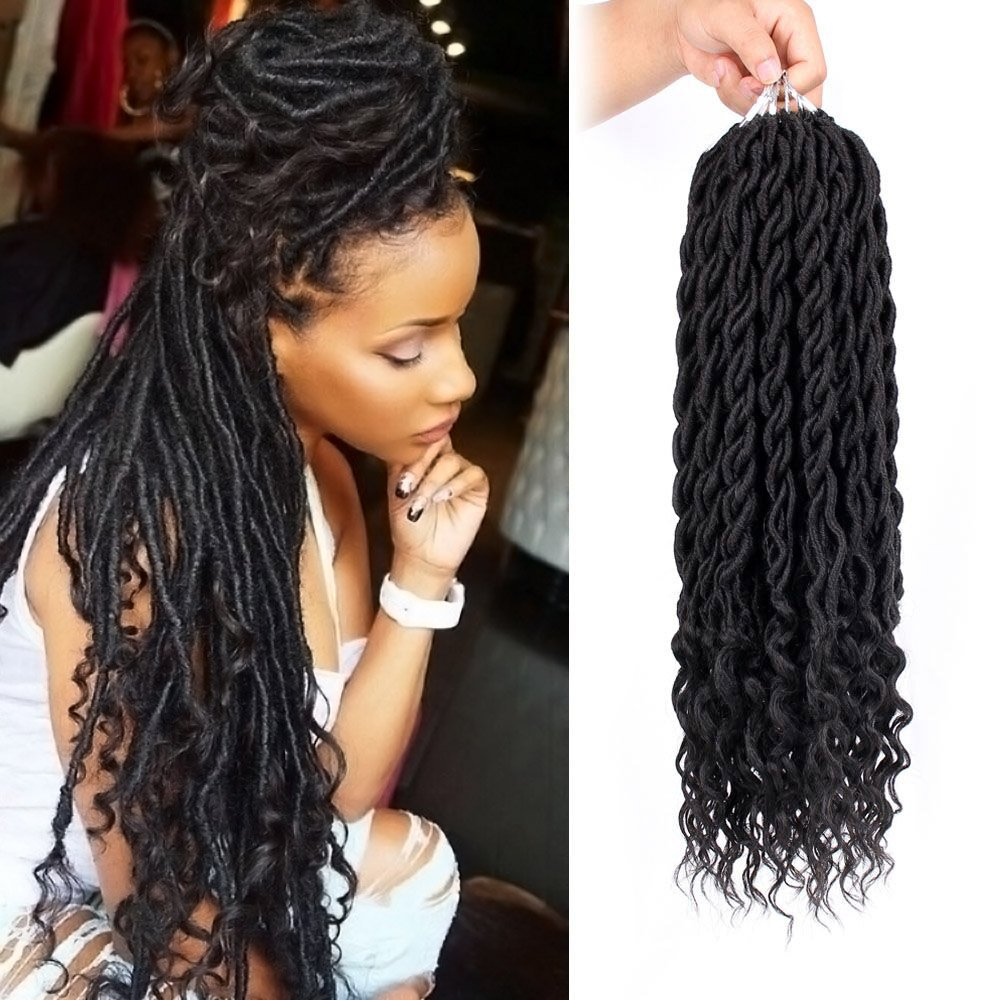 6Packs/Lot Curly Faux Locs braids 20Inch Faux Locs Crochet Hair with Curly Ends Goddess Crochet Synthetic Braiding Extensions(1B#) GX Beauty