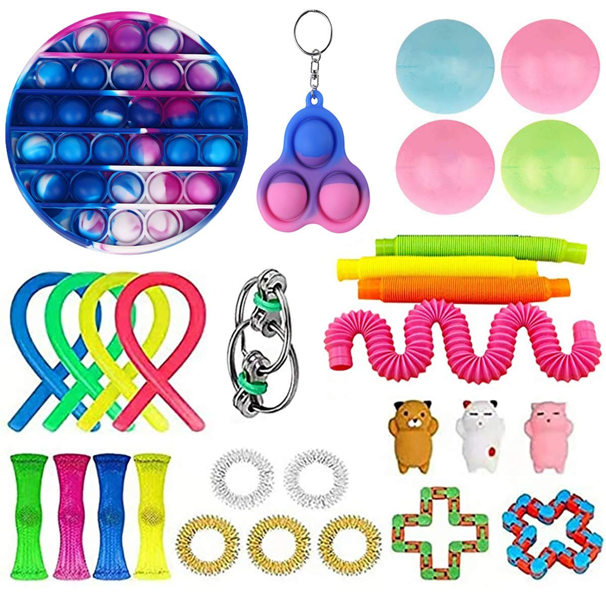 XINGJI 30 Pcs Fidget Toys Set, Fidget Pack Cheap, Sensory Toys Pack for Kids Adults, Simples Dimple Figetget Toys, Relieves Stress and Anxiety Fidget Toy (B-30 P2)