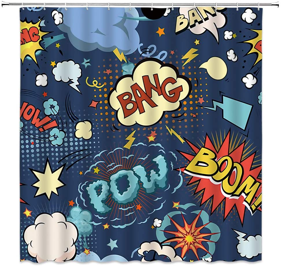 Superhero Shower Curtain, Retro Comic Book Colorful Pop Art Cartoon Speech Bubbles Funny Humor Expressions Boom Scream Splash Bang Symbol Sound Effect Fabric Bathroom Curtain with Hook