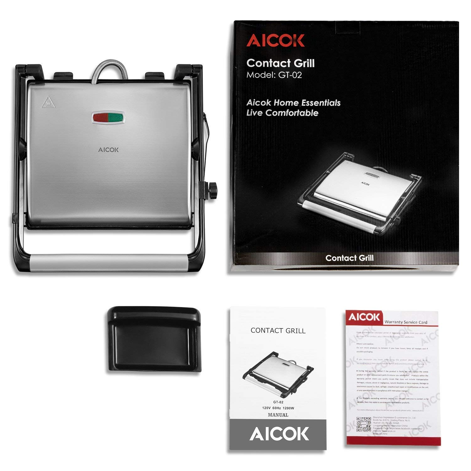 AICOK Sandwich Maker Panini Press Grill Contact Grill 1200-Watts Non-stick with 4-Slice Family Size Rotable Plate, Removable Drip Tray, LED Indicator Lights and Floating Hinge by AICOK