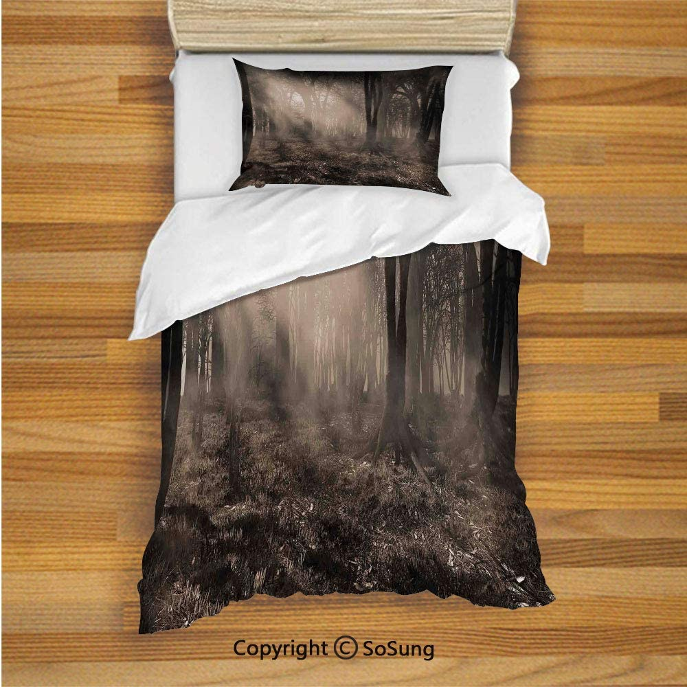 SoSung Gothic Decor Kids Duvet Cover Set Twin Size, Photo of Dark Forest Scenery with Sunbeams and Fog Vintage Nostalgic Colors Gothic Fantasy Art 2 Piece Bedding Set with 1 Pillow Sham,Brown 71oUxs9ObBL