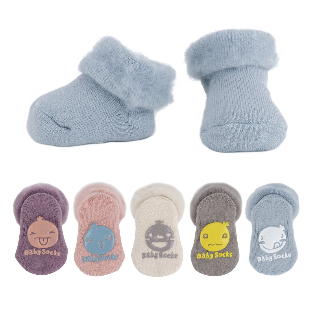 Ehdching 5 Pack Newborn Unisex Baby Toddler Boy Girl Organic Thick Cotton Turn Cuff Slipper Socks (M(12-36 Months))