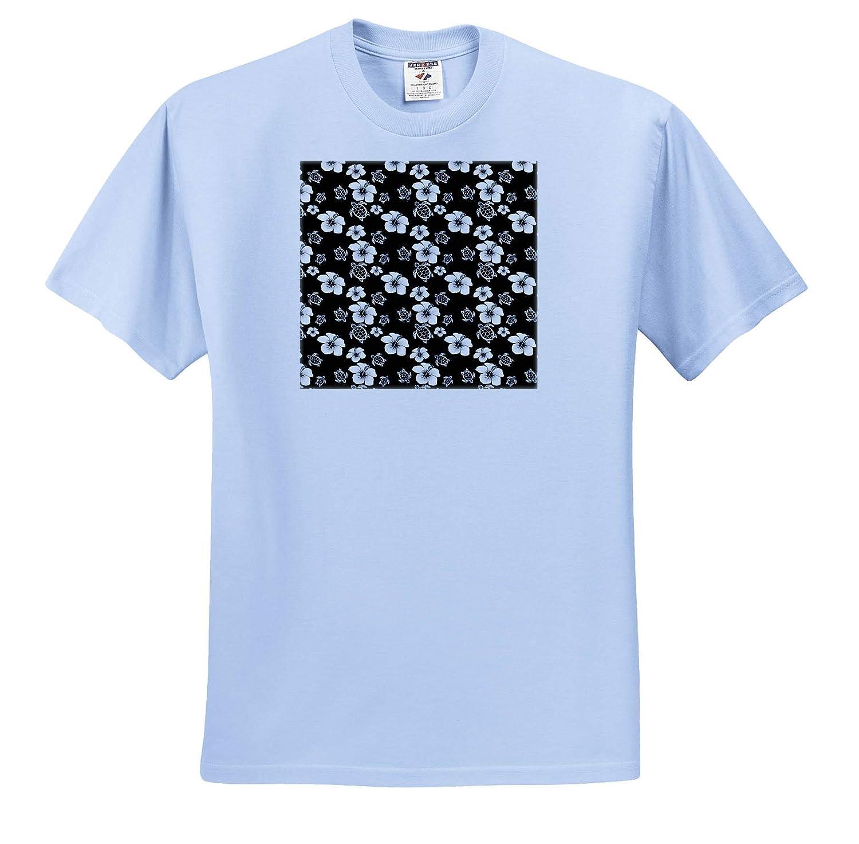 Hawaii A Black and White Hibiscus Flower and Turtle Hawaiian Pattern - T-Shirts 3dRose Macdonald Creative Studios