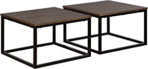 Alaterre Furniture Arcadia Acacia Set of 2 Rectangle Coffee, Antiqued Mocha Wood Table