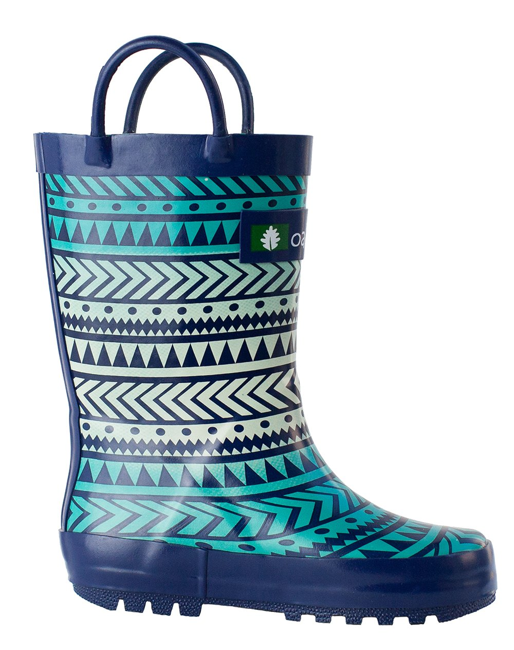 Oakiwear Kids Rubber Rain Boots with Easy-On Handles, Tribal, 4T US Toddler