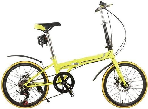 Freno De Disco Plegables Del Coche De 20 Pulgadas Bicicleta Plegable De Lujo Plegables Bicicleta Mini Estudiante Equipo Del Montar A Caballo Del Regalo Del Coche De La Bicicleta,Yellow-26in: Amazon.es: Hogar