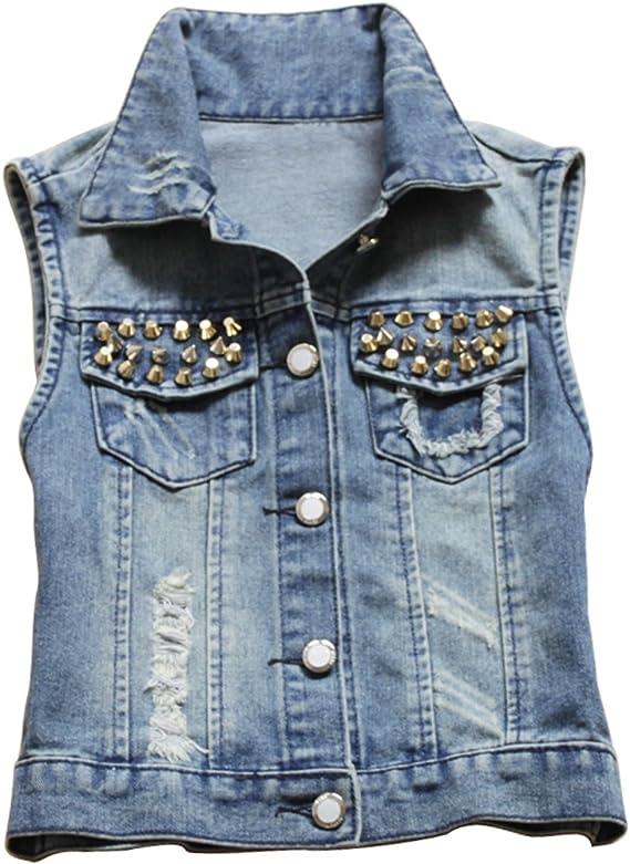 Only Faith Women Buttoned Denim Vest Waistcoat Sleeveless Cowboy Jacket