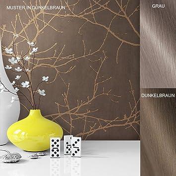 Vliestapete Vinyl Tapete Mit Baummuster Braun Grau Beige In Edelster  Ausführung , Außergewöhnliches Tapetenmuster In Moderner