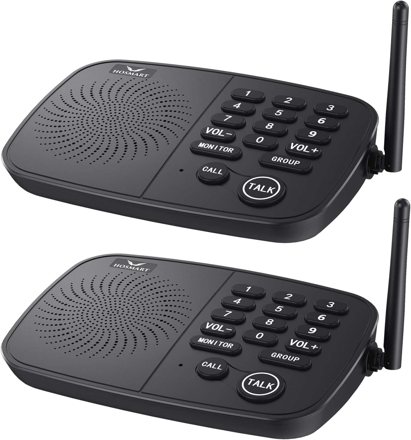 Hosmart 1/2 Mile Range 10-Channel Intercom System for Home or Office, Plug-and-Play Intercom, Easy to Use with Clear Sound, Without Yelling[2 Units Black]