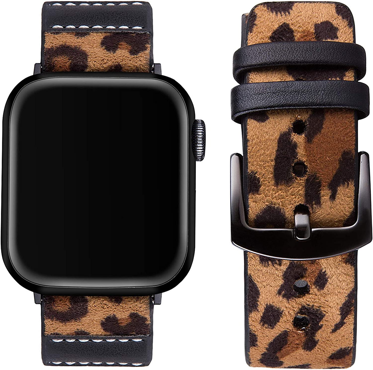 Vikoros Vintage Leather Band Compatible with Apple Watch 38mm 40mm 42mm 44mm Men Women, Retro Leopard Leather Replacement Strap Wristbands for iwatch Series 5 4 3 2 1 Black Metal Clasp