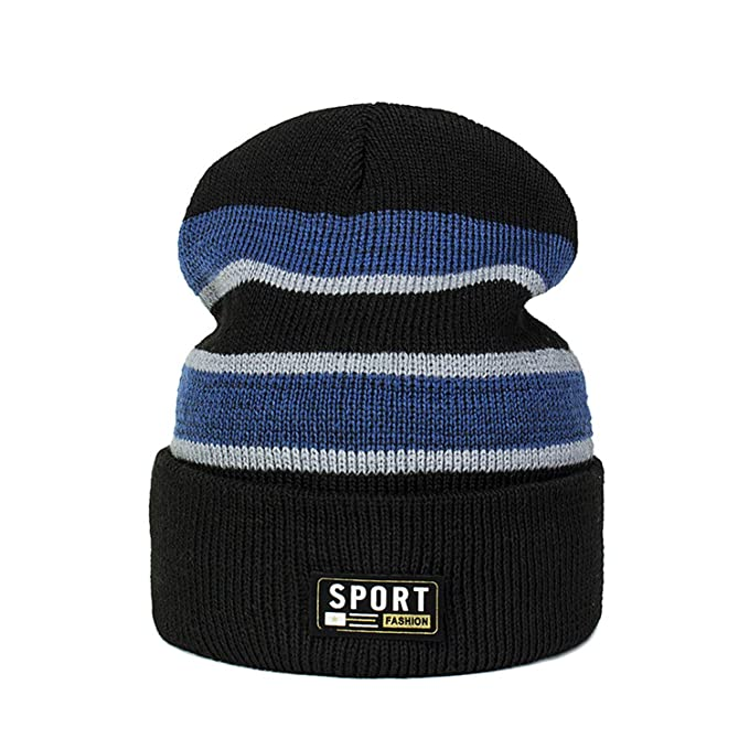 7b0fef49ee5 Cotton Striped Hats Men Hip Hop Skullies Winter Warm Hats Beanies Knitted  Hats for Women Soft