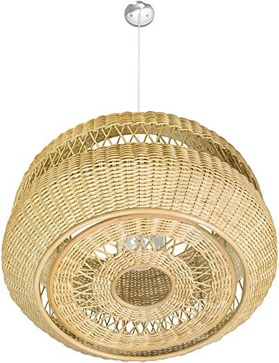 KOUBOO 1050074 Open Weave Candy Wicker Pendant Lamp, 19.25 x 19.25 x 9.75 , Natural Brown