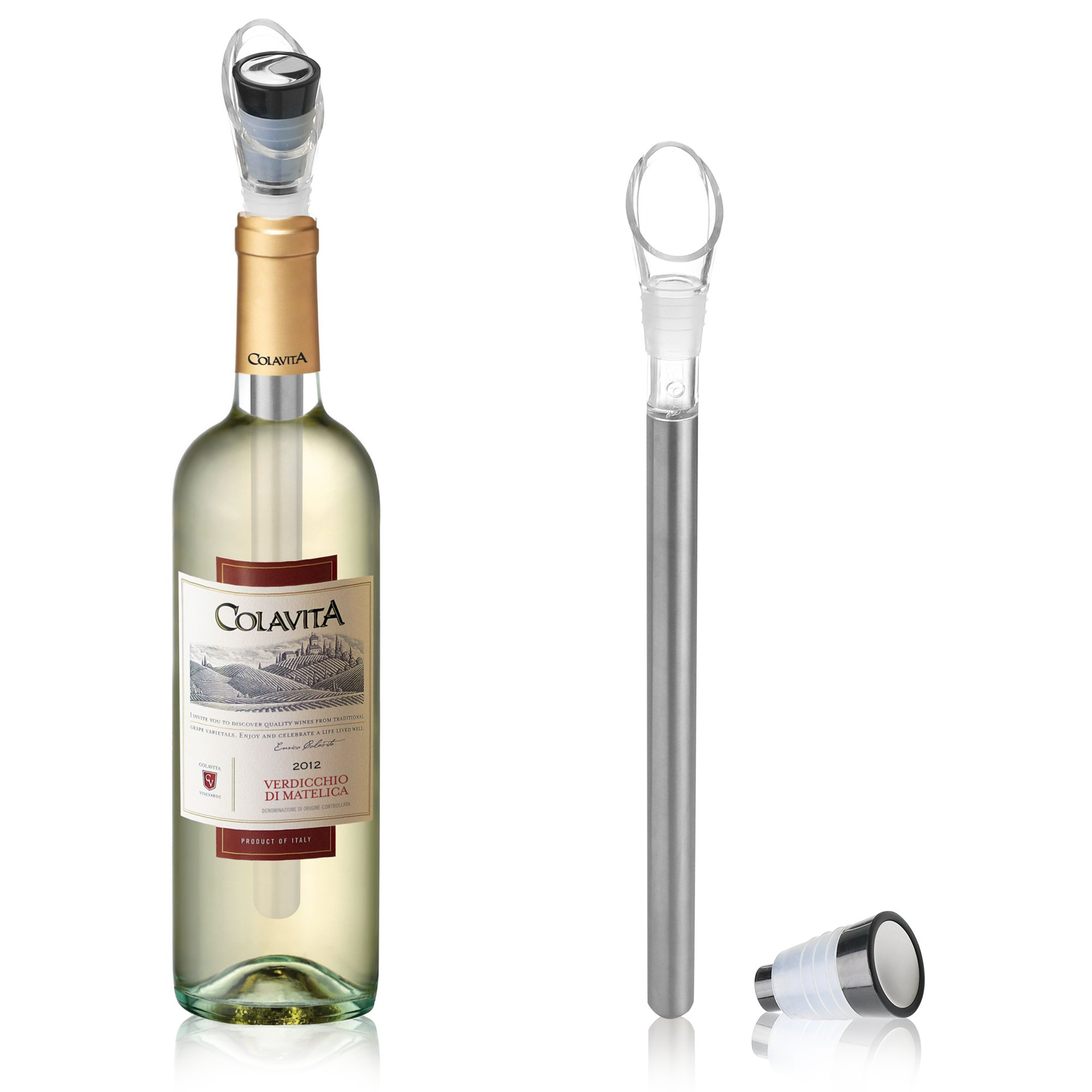 4-IN-1 Stainless Steel Wine Bottle Cooler Stick (2 Pack) - DeVine Wine Chiller, Aerator, Pourer and Wine Stopper - Keep Wines Chilled For Hours