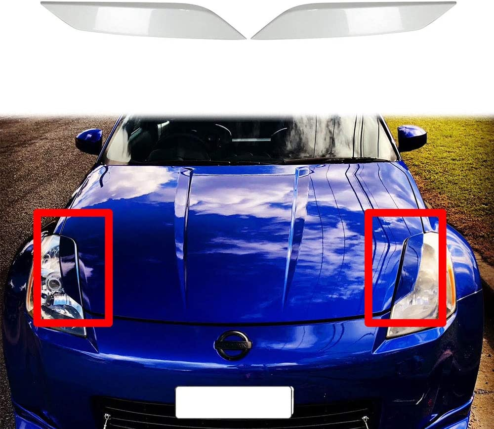 autopartsTW Compatible with 350Z Z33 FAIRLADY Z COUPE HEADLIGHTS EYELIDS EYEBROWS Cover Painted