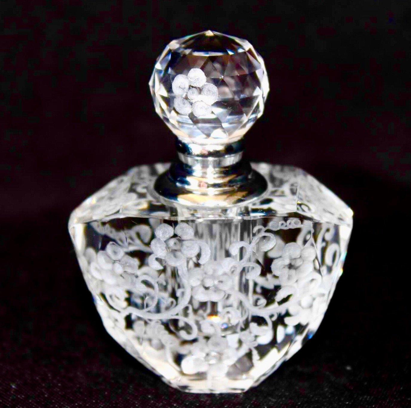 Hand Engraved Oleg Cassini Crystal Bottle, Home Decor, Home Vanity, Engraved Perfume Bottle, Crystal Bottle Flowers, Bridal Gifts