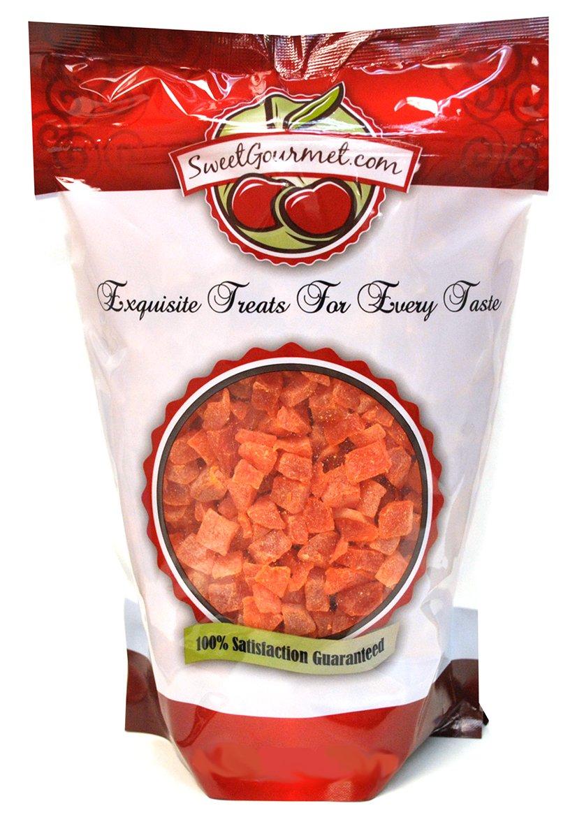 SweetGourmet Dried Diced Papaya | Orange Papaya Pieces | Kosher | 1 Pound