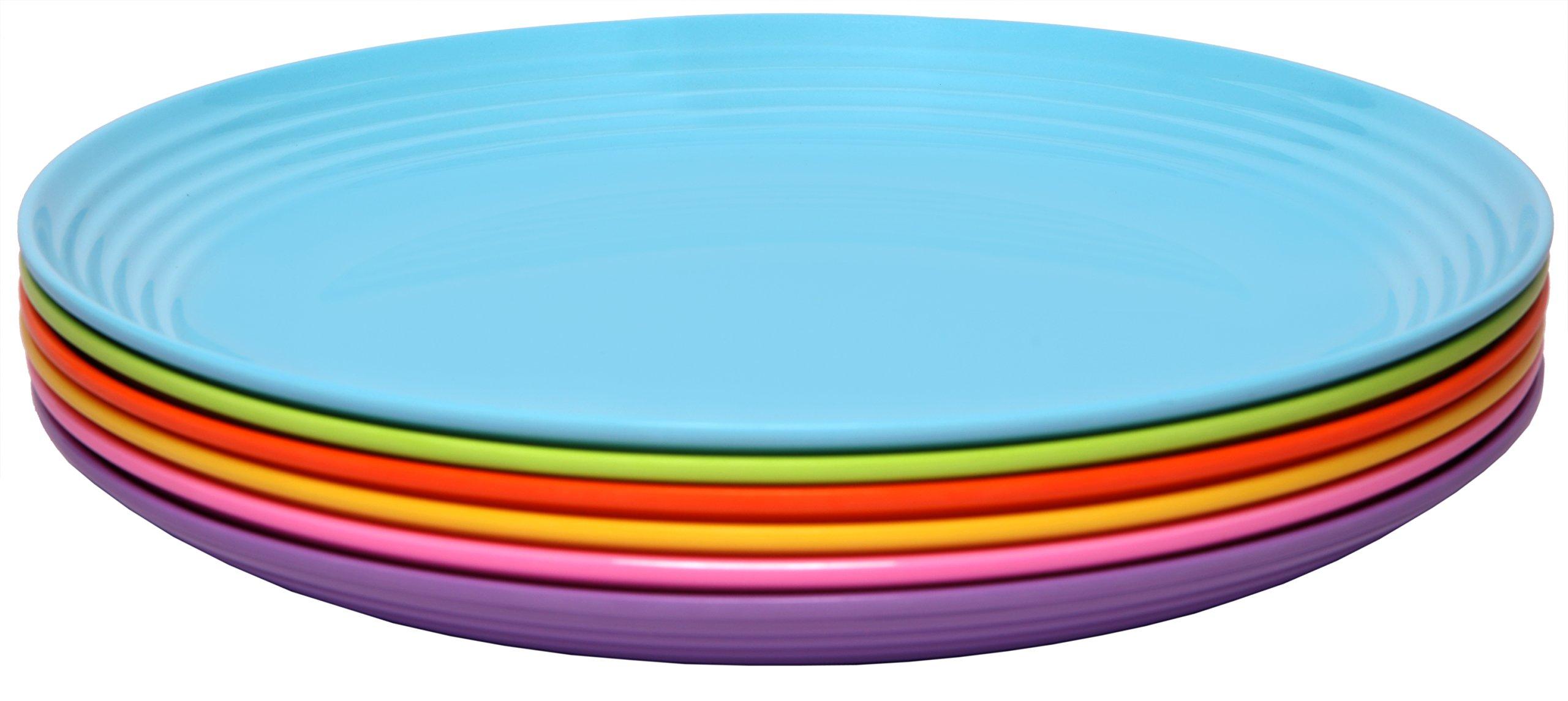 Melange 6-Piece Melamine Salad Plate Set (Solids Collection) | Shatter-Proof and Chip-Resistant Melamine Salad Plates | Color Multicolor