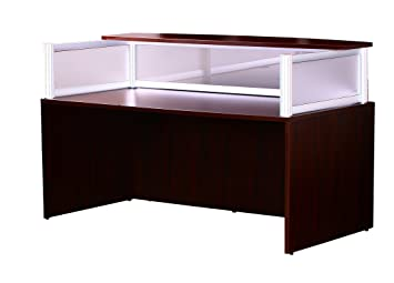 boss plexiglass reception desk mahogany boss office products plexiglass reception