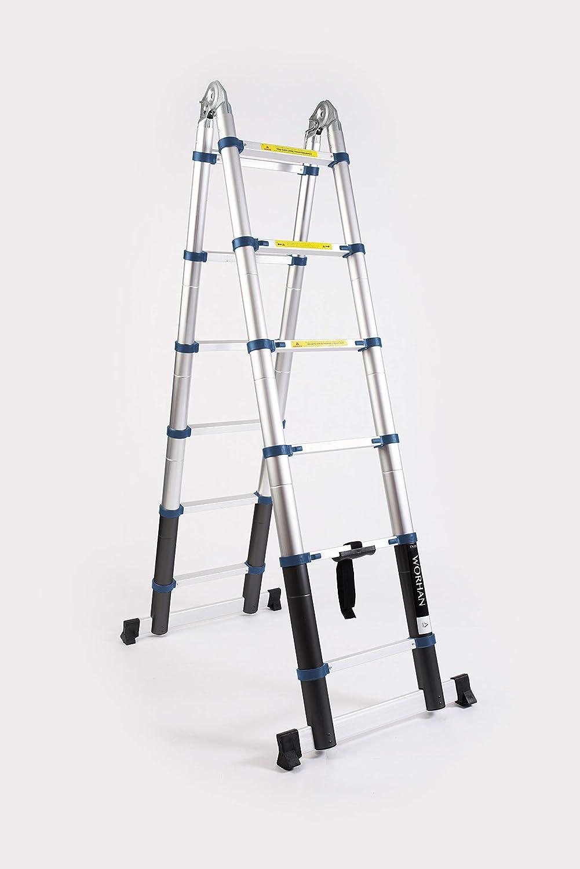 WORHAN® 3.8m Escalera Doble Telescopica PRO Multiuso Multifuncional Plegable Tijera Aluminio Anodizado Nueva Generación Calidad Alta 380cm K3.8A: Amazon.es: Bricolaje y herramientas