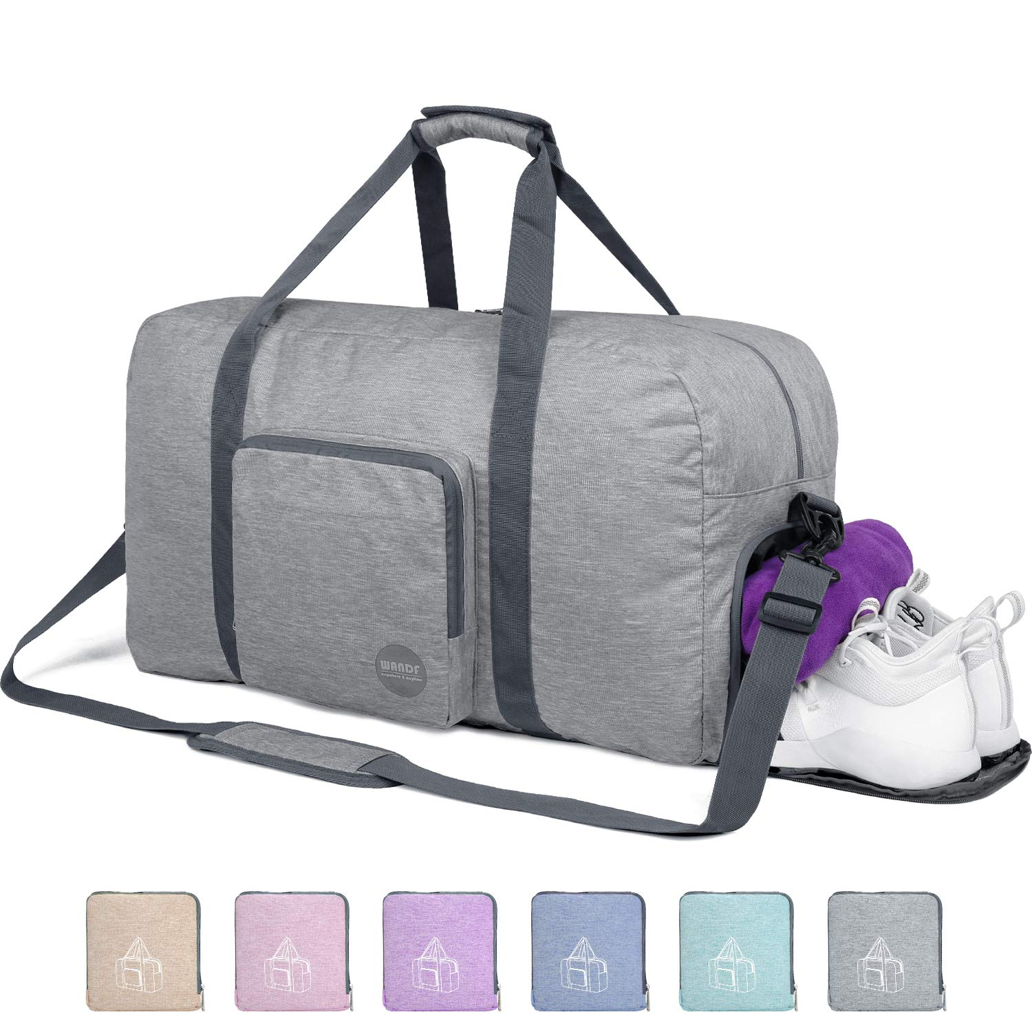 24'' Foldable Duffle Bag 60L for Travel Gym Sports Packable Lightweight Luggage Duffel Water-resistant By WANDF (Light Grey 24'', 24 inches (60 Liter)) by WANDF