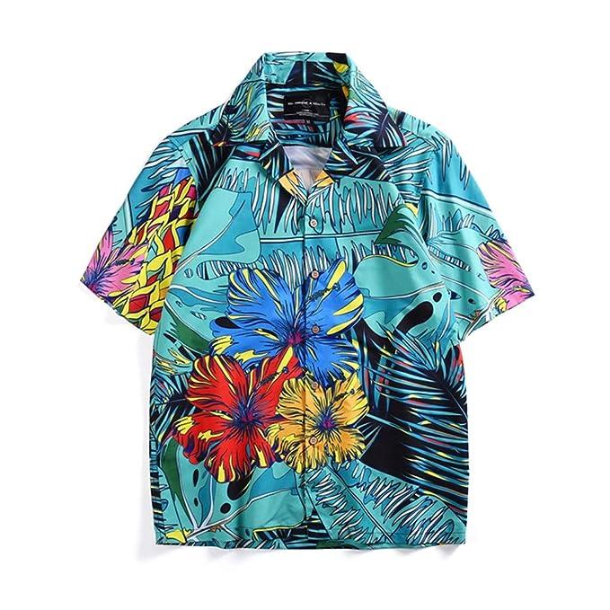 brand new 9cee5 f1fed Camicie hawaiane con Stampa Tropicale da Spiaggia, Camicie ...