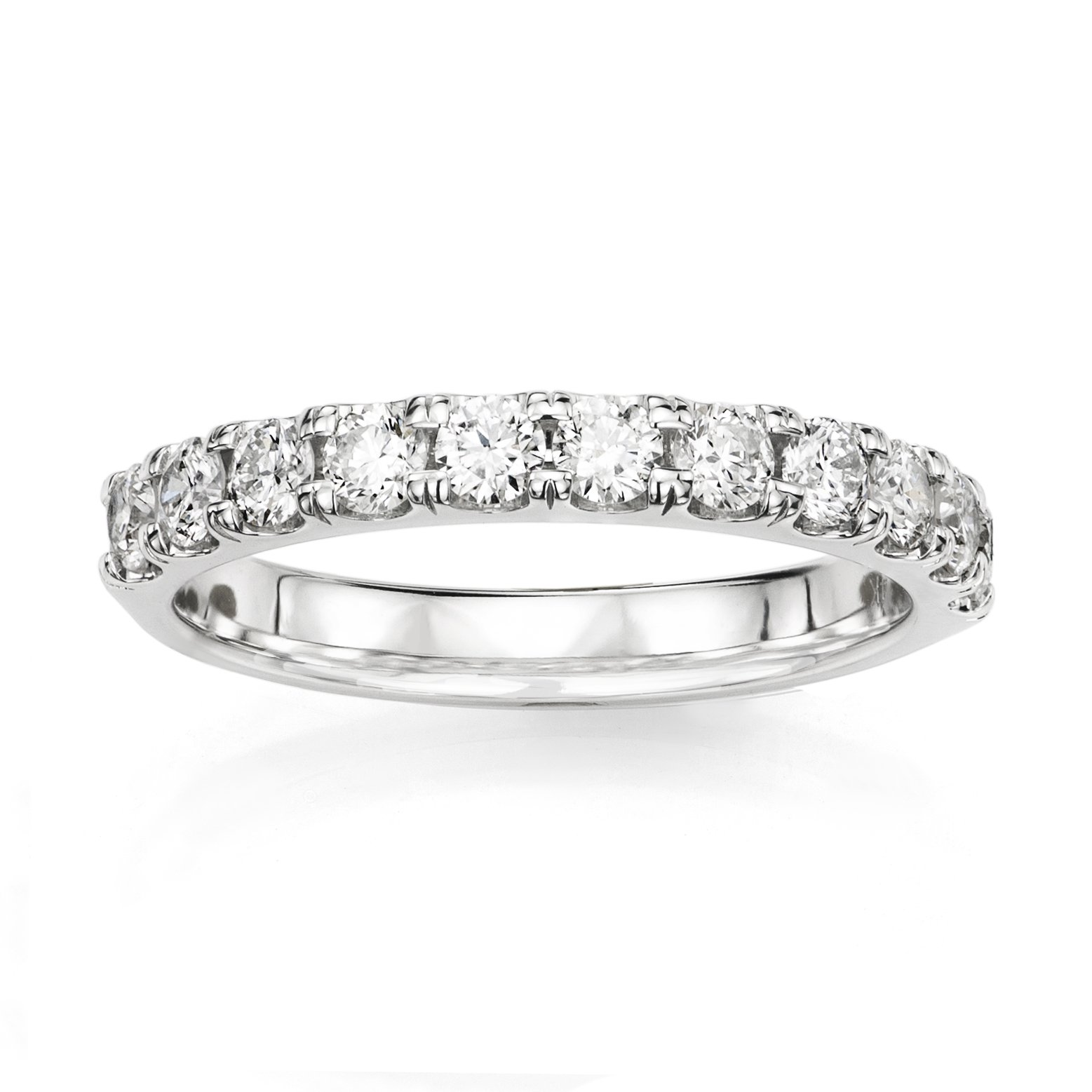 14KT White Gold 0.5ct G-I SI1/SI2 Shared Prong Machine Set Wedding Ring