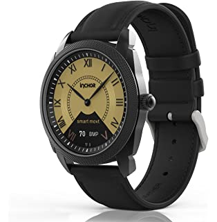 InClock Watch Stainless Steel with Leather Strap, (OLED Auto Calibration, Heart Rate,