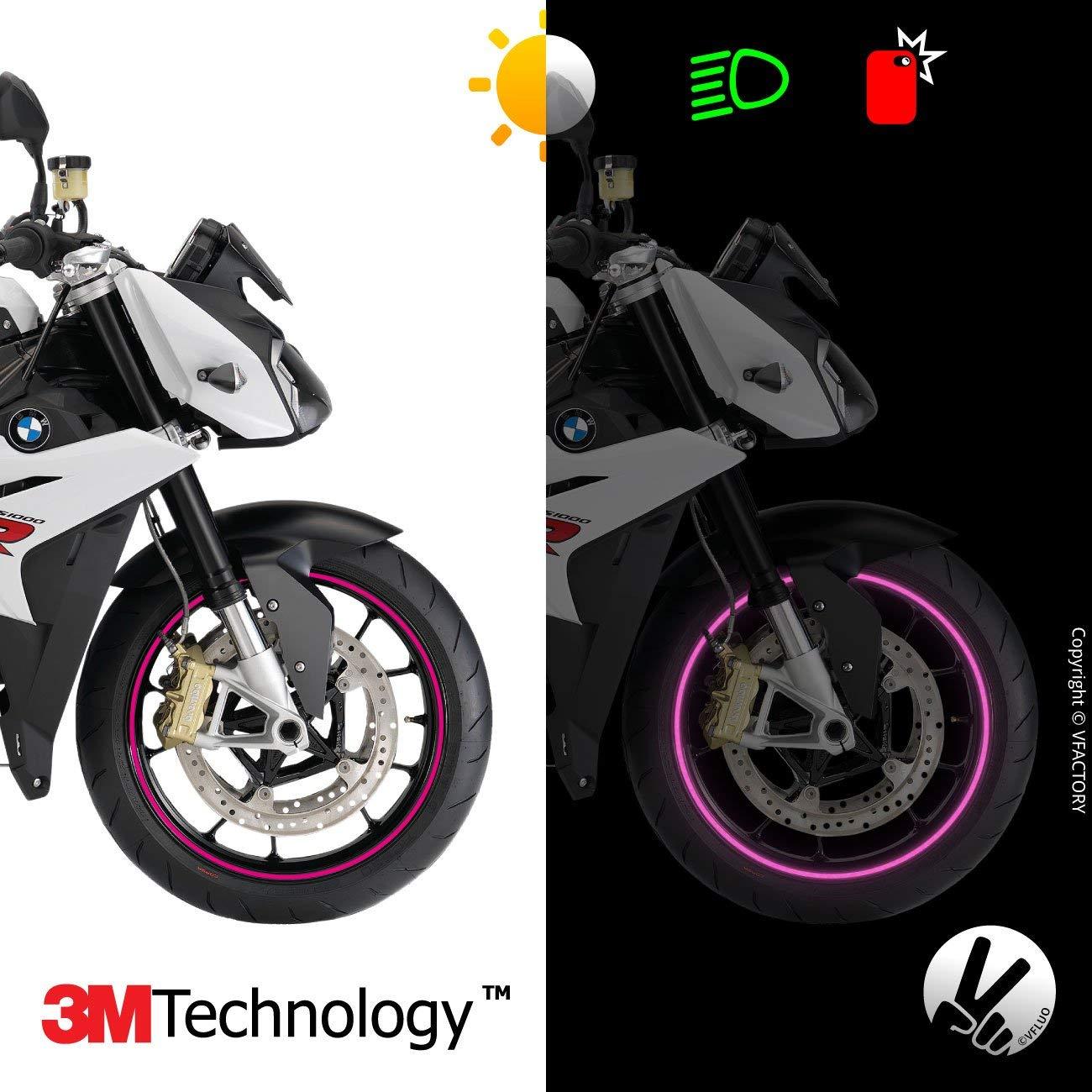 VFLUO Circular™, Kit Bandes Jantes Moto rétro réfléchissantes (1 Roue), 3M Technology™, Liseret Largeur Normale : 7 mm, Blanc/Argenté