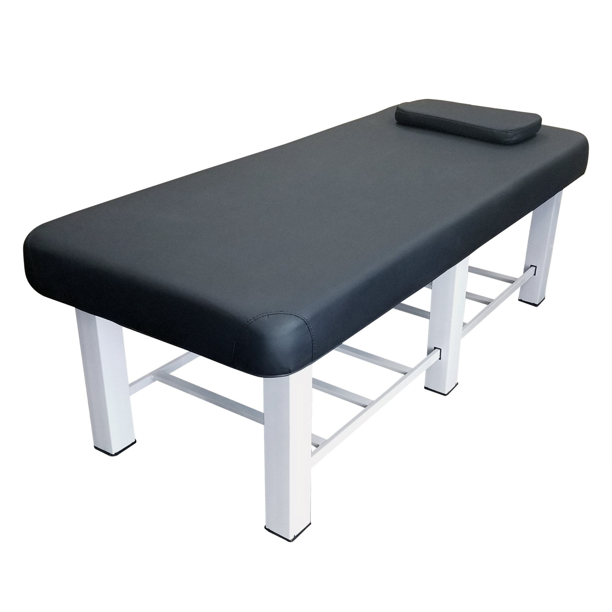 TOA 6-Legs Metal Framed Stationary Spa Massage Table Bed w/ Tray Rack (1 Black Table)