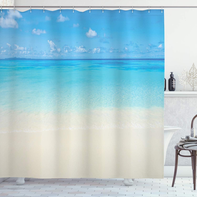 "Ambesonne Ocean Shower Curtain, Paradise Beach in Tropical Caribbean Sea with Sky View Beach House Theme, Cloth Fabric Bathroom Decor Set with Hooks, 70"" Long, Cream Navy"