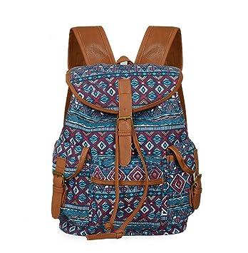Hsug Etnicas Mujer Mochilas Lona Clasicas Bolsas Casual Vintage Mochila Diaria Colegio Trekking Backpack Estampados Estudiante Mochilas Escolares: ...