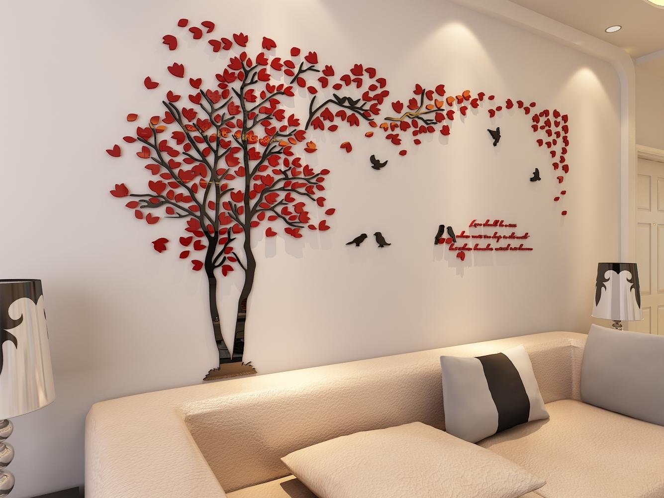 Tree Design Wallpaper Living Room Amazoncom 3d Couple Tree Wall Murals For Living Room Bedroom