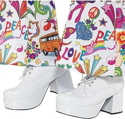 Weiße Herren Disco Plateau Schuhe Gr. 44 für Fasching S