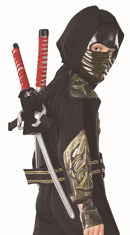 Gold Dragon Warrior Ninja Child Costume and Weapon Set