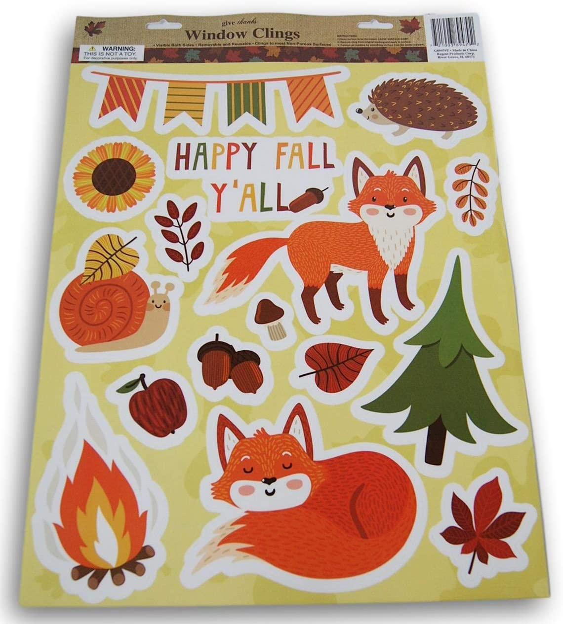 16 Piece Happy Fall Yall Foxes Autumn Fall Thanksgiving Themed Window Cling Set