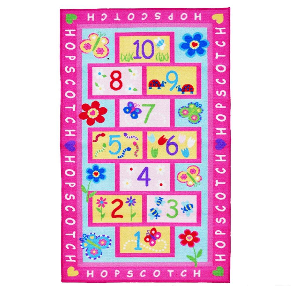 KEPSWET Girl Children Hopscotch Game Rug Pink Kid Nursery Classroom Play Carpet Bedroom Floor Mat Rectangle (39.3 inch x 59 inch, Pink)