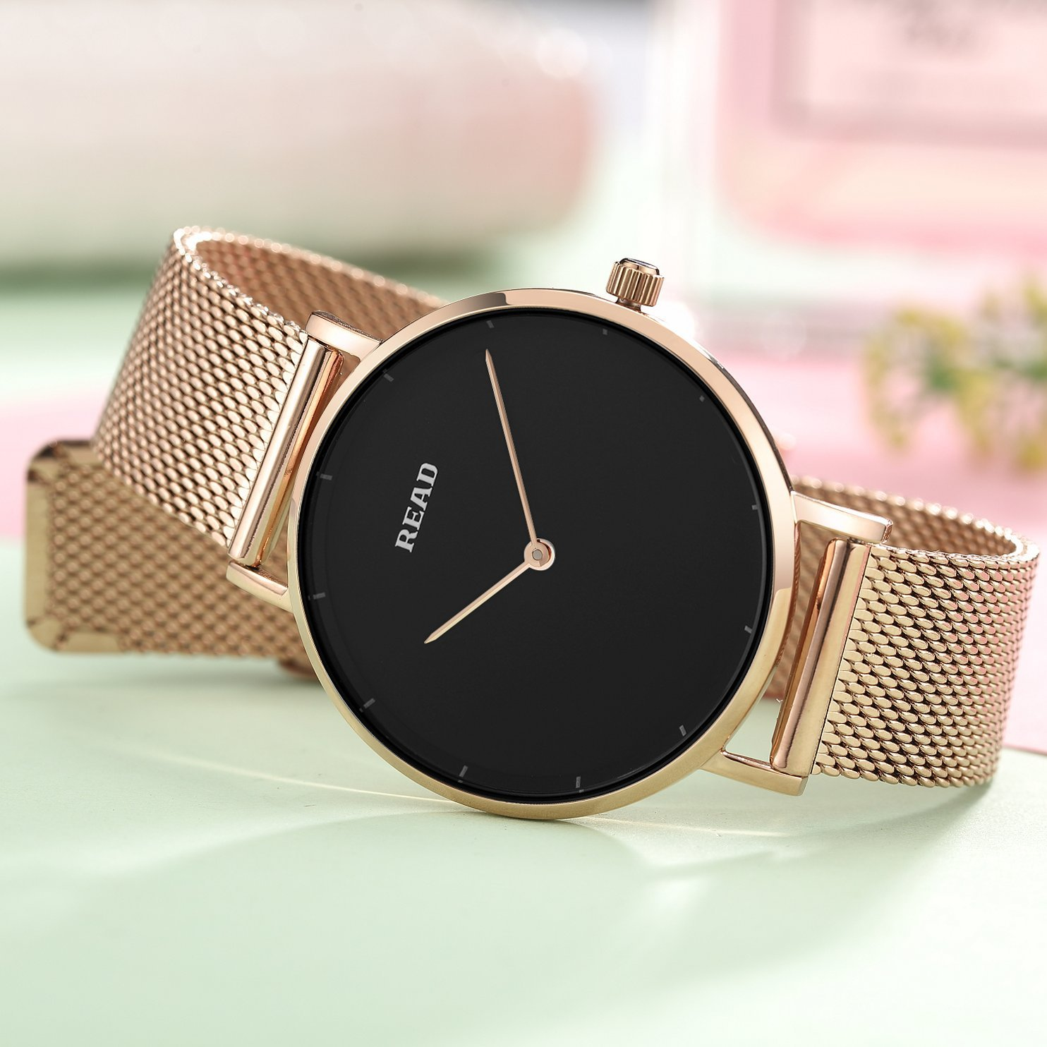 Amazon.com: New READ Women Quartz Watches with Mesh Steel Band Waterproof Wristwatch Best Valentines Day Gift for her R6005 (Rose Black): Watches