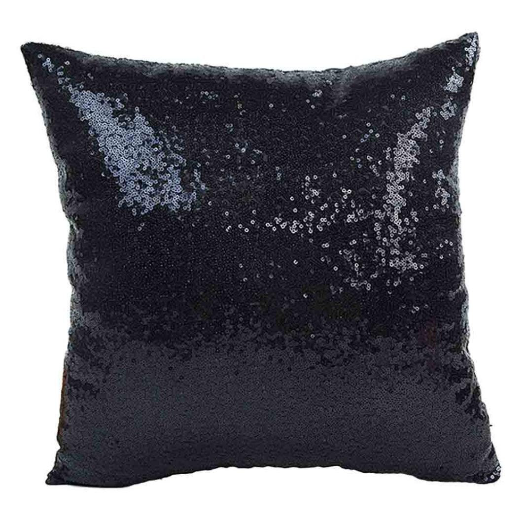 Start New Glitter Sequins Pillow Case Cafe Home Decor Cushion Covers (40cm40cm, Black)