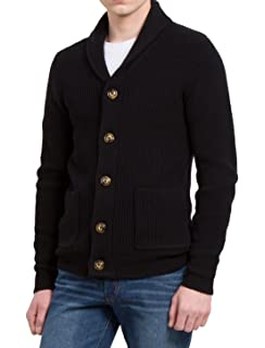 uxcell Men Shawl Collar Front Pockets Single Breasted Long Sleeves Cardigan e2c0e5d4c